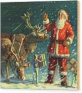 Santas And Elves Wood Print