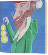 Santa's Ornament Painter Elf Wood Print