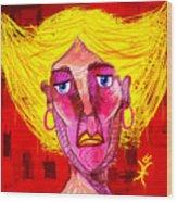 Santia Sour Face 1060 Wood Print