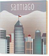 Santiago Chile Horizontal Skyline Wood Print
