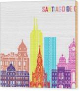 Santiago De Cali Skyline Pop Wood Print