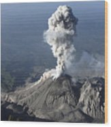 Santiaguito Ash Eruption, Guatemala Wood Print by Martin Rietze