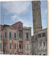 Santo Stefano Venice Leaning Tower Wood Print