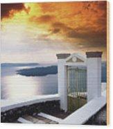 Santorini - The Gate Wood Print
