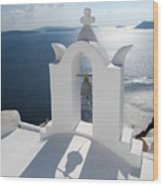 Santorini Bell Tower Casts Shadow Wood Print