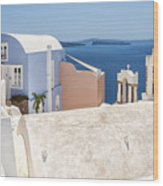 Santorini Blue House In Oia Wood Print
