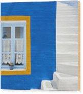 Santorini Blue Wood Print
