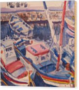 Santorini Boats Study Wood Print