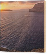 Santorini Caldera Sunset Wood Print