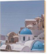 Santorini Church In Oia Wood Print