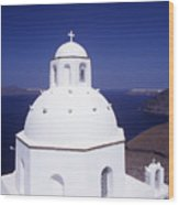 Santorini Church Wood Print