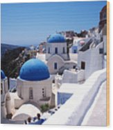 Santorini Churches Wood Print