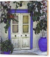 Santorini Doorway 1 Wood Print