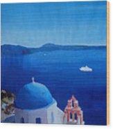 Santorini Greece View From Oia To Caldera Wood Print