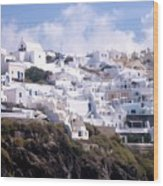 Santorini Hillside 2 Wood Print