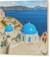 Santorini Oia Church Caldera View Digital Painting Wood Print