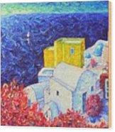 Santorini Oia Colors Modern Impressionist Impasto Palette Knife Oil Painting By Ana Maria Edulescu Wood Print