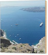 Santorini Old Port At Fira Wood Print