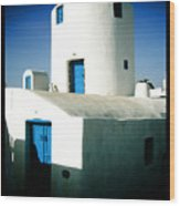 Santorini Silo With Border Wood Print