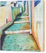 Santorini Steps Wood Print