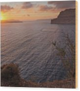 Santorini Sunset Caldera Wood Print
