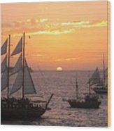 Santorini Sunset Sails Wood Print
