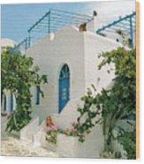Santorini Villa Wood Print