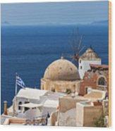 Santorini Windmill And Church Wood Print