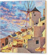 Santorini Windmill At Oia Digital Painting Wood Print