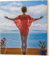 Santorini Yoga Goddess Wood Print