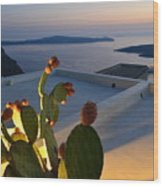 Santorini.fira Sunset Wood Print