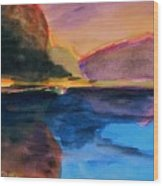 Sapphire Blue Water Wood Print