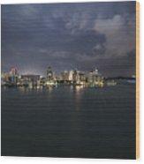 Cityscape - Sarasota Skyline Lightening Wood Print