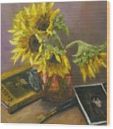 Sargent And Sunflowers Wood Print