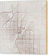 Saskatoon Street Map Colorful Copper Modern Minimalist Wood Print