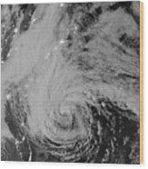 Satellite View Of Hurricane Sandy Wood Print