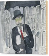 Satie Walking In The Rain Wood Print