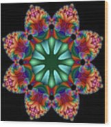 Satin Rainbow Fractal Flower II Wood Print