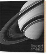 Saturn And Tethys Wood Print