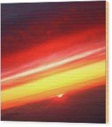 Saturn On Earth Sunset Wood Print