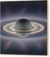 Saturn Silhouetted, Cassini Image Wood Print