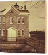 Saugerties Lighthouse Sepia Wood Print by Nancy De Flon