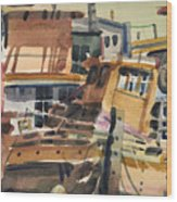 Sausalito House Boats Wood Print