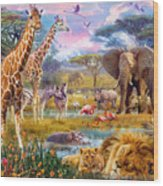 Savannah Animals Wood Print