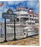Savannah River Queen Boat Georgia Wood Print