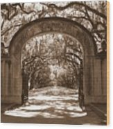 Savannaha Sepia - Wormsloe Plantation Gate Wood Print