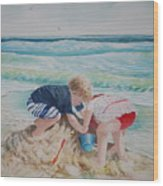 Saving The Sand Castle From The Tide Wood Print