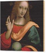 Saviour Of The World Wood Print by Giovanni Pedrini Giampietrino