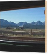 Sawtooth Mountains From Cafe Window Wood Print