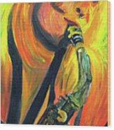 Sax Diva Wood Print